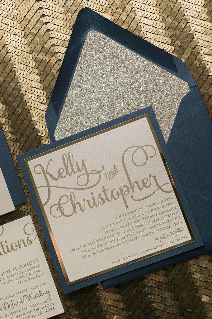 ADELE Suite Fancy Glitter Package, elegant navy and champagne letterpress wedding invitations, fancy wedding invitations with glitter envelope liners, winter wedding ideas