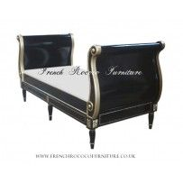 sleigh bed black and gold