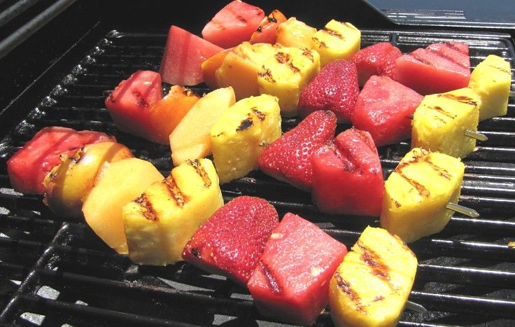 Mixed fruit can be skewered to provide a delightful side dish for barbecues or as a desert