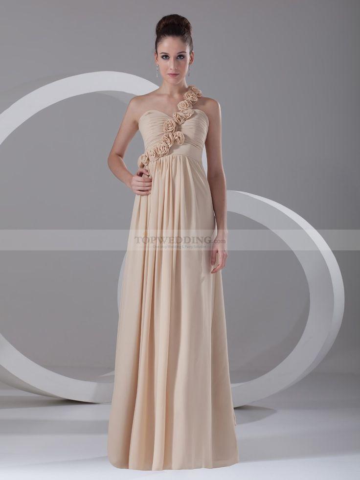 Rosette One Shoulder Long Chiffon Empire Bridesmaid Dress