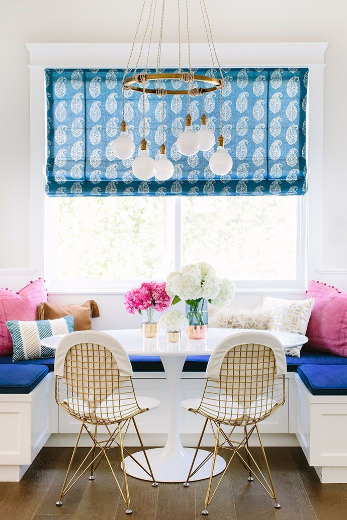 Preppy dining room nook in blue and pink