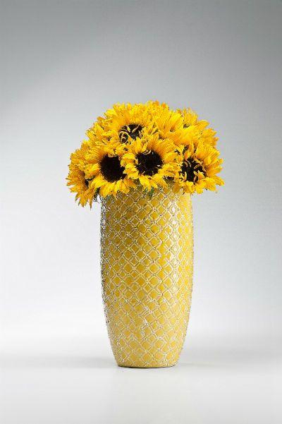 Βάζο Azucar Yellow 34 Υπέροχο πήλινο βάζο με ανάγλυφο σχέδιο σε κίτρινο και λευκό χρώμα με γυαλιστερό φινίρισμα.