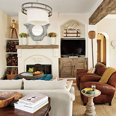 Visually Divide a Great Room | Use architectural details, like the cedar ceiling beams in this room, to help visually divide and define the rooms in the open space of a great room.