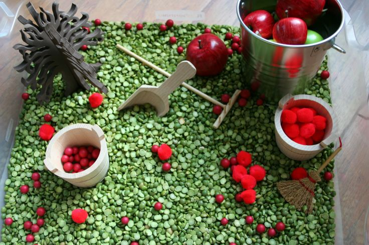 Apple Themed Sensory Box (Photo from Pink and Green Mama)