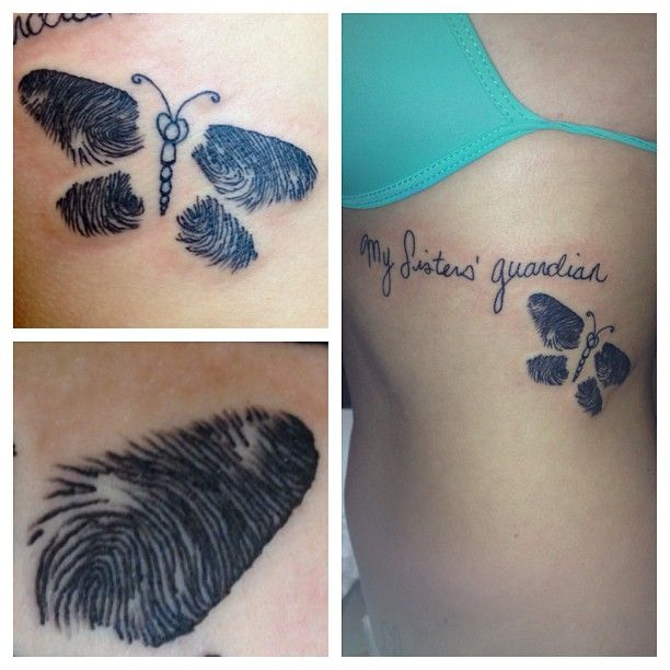 Fun walk in for Liz. She came in wanting lettering with her sisters names and we came up with the idea of her sisters finger prints in a butterfly design! Super cool.