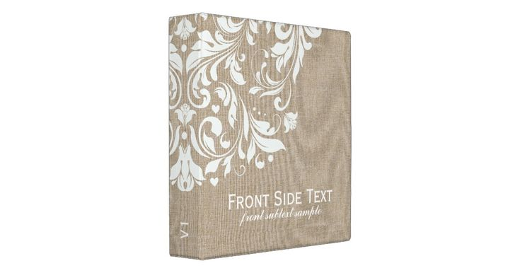 Elegant simple light beige tones faux linen burlap fabric look with elegant vintage floral lace. ( This is an image of linen burlap and not real linen). Fully customizable every binder template. 1.5 inch binder