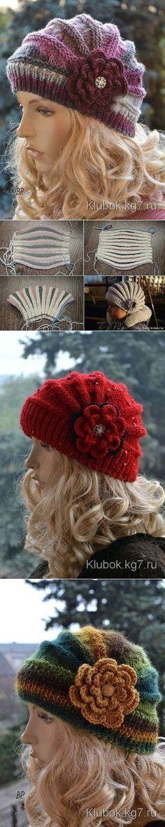 Оригинальная и очень красивая шапочка спицами (укороченные ряды) [] # # #Tissue, # #Stricken, # #Gorros #Crochet, # #Scarves, # #Hats