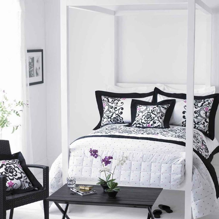 Fancy Black And White Bedroom Design Inspirations : Inviting Black And  White Bedroom Design With White Frame Canopy Bed And Foldable Black W. Part 61