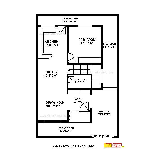 House plan for 30 feet by 45 feet plot plot size 150 for 10 x 18 square feet