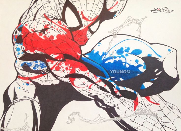 Spiderman 1 A3  Pen and Coloured Pencil