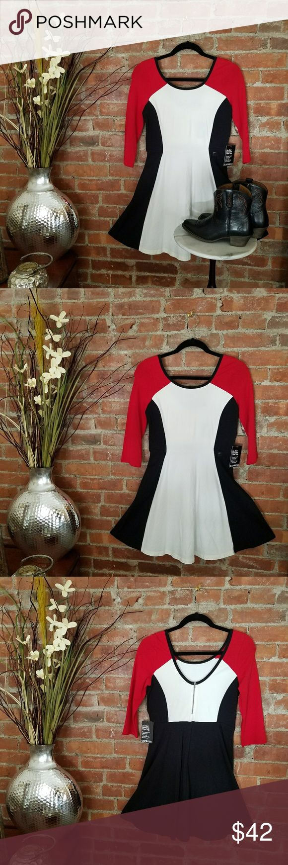NWT EXPRESS Dress A bold color block skater dress!  Hmmm....dress flats,  patent heels and patent belt or super casual with black chucks!  So many possibilities!   How will you wear it?!  Do you like the boots too, available in a separate listing?!  Check them out! Express Dresses Midi