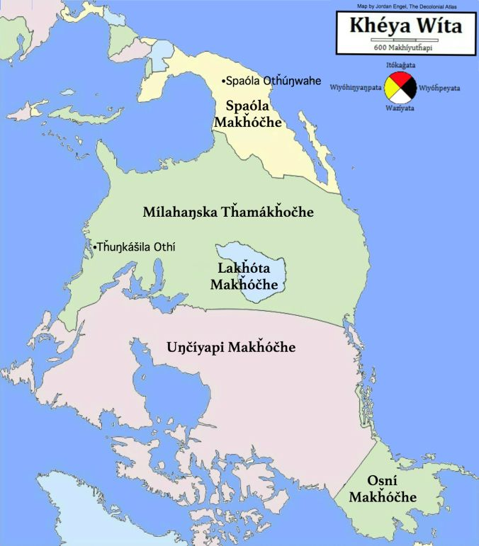 "lakota-country:  This map shows Lakota Territory as defined by the 1851 Treaty of Fort Laramie between the United States government and the Lakota in relation to the rest of North America, or Khéya Wíta, meaning ""Turtle Island"" in Lakota."