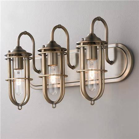 Nautical Cage Bath Light 3 Light Fixtures Sconces