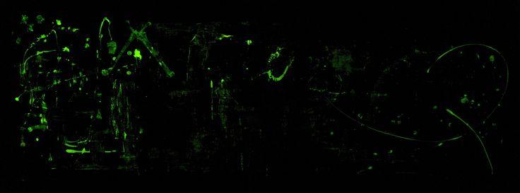 "Firewalk (dark) 2008-2009 72"" x 24"" Acrylique, gouache, os, corde, jute, colle clous, vices et médium phosphorescent sur toile Acrylic, gouache, bones, rope, burlap, glue, nails, screws and glow-in-the-dark medium on canvas"