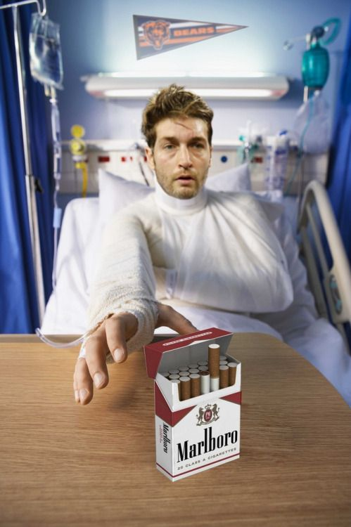 This fan submission courtesy of Molson comes after Smokin' Jay Cutler left yesterday's game with a hamstring injury.  Get better soon Smokin' Jay.Caption: Typical start to the new Bears season…
