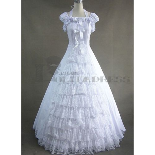 Discount White Lace Long Sleeve Victorian Gothic Wedding: Affordable Simple Puff Sleeves Lace Bowknot Ruffles White