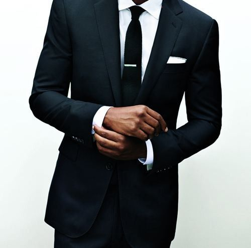 Wedding Ideas: all-black-suit, white shirt, slim tie