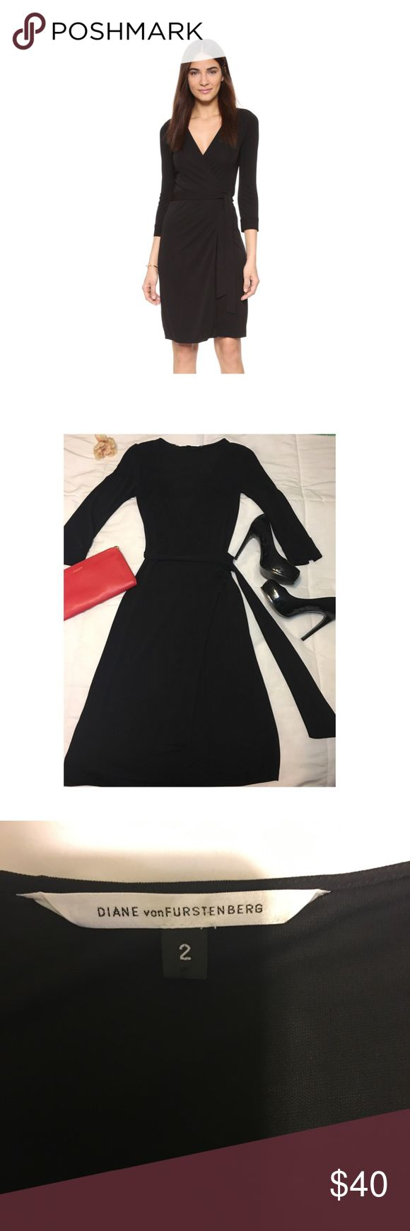 Classic Black Wrap Dress Gently worn. Excellent condition. Labeled DVF but cannot authenticate. other Dresses