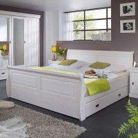 Doppelbett Pigaro in Weiß aus Kiefer Massivholz