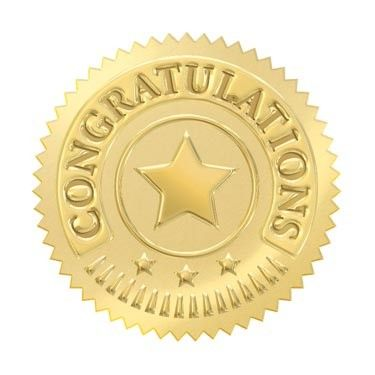 32 Gold embossed congratulations certificate award seal stickers - Sticker Stocker