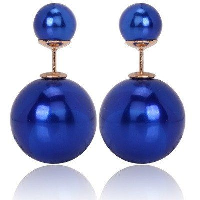 WOMAN EARRINGS PEARL NAVY