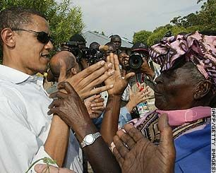Barack Obama with his family members! Also, with his grandma, Sarah Obama  Kenya