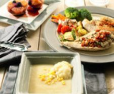 Receta Menú completo para dos, Papillote de pollo con tomate seco, papillote de verduras, papillote de frutas y crema de verduras - Receta de la categoria Carnes y aves