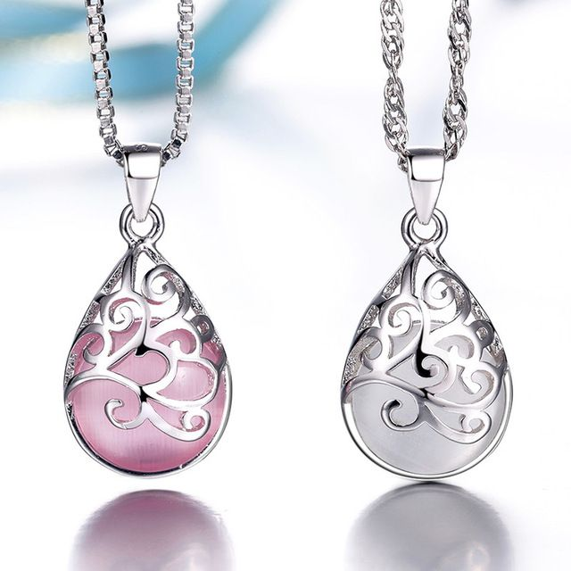 Silver plated pendants female models love the Trevi Fountain Moonlight Opal…