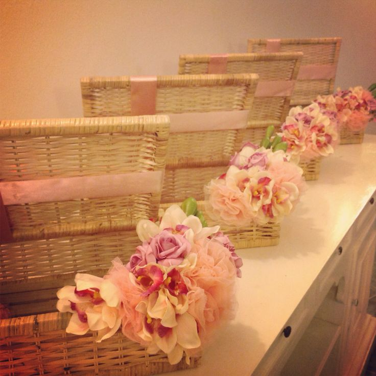 Wedding hantaran using artificial flowers and tulle.  Baskets- REUSABLE!