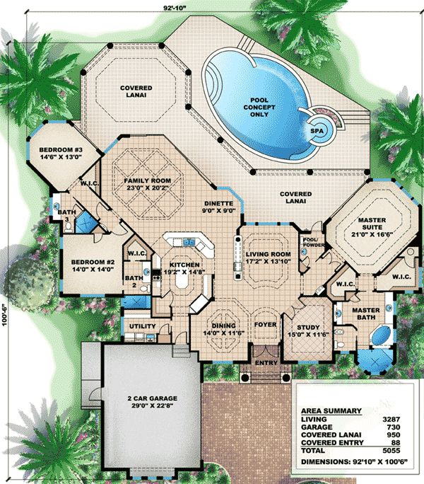 Best 25 house plans with pool ideas on pinterest one for Florida blueprint