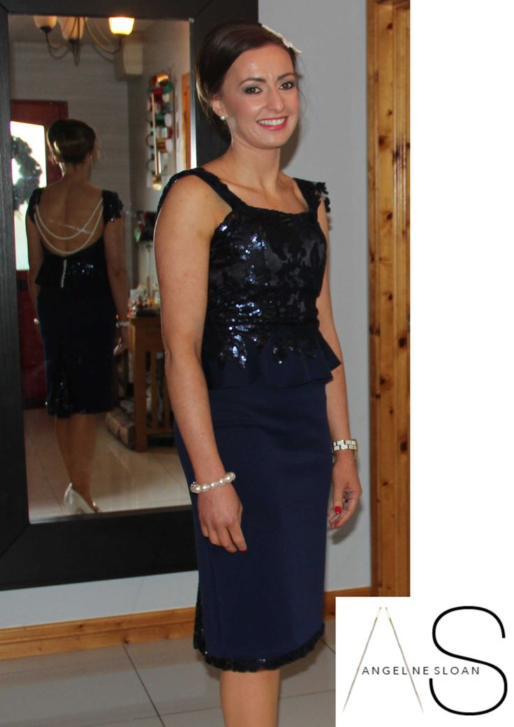 Alison in her bespoke wedding guest outfit navy peplum for Peplum dresses for wedding guest