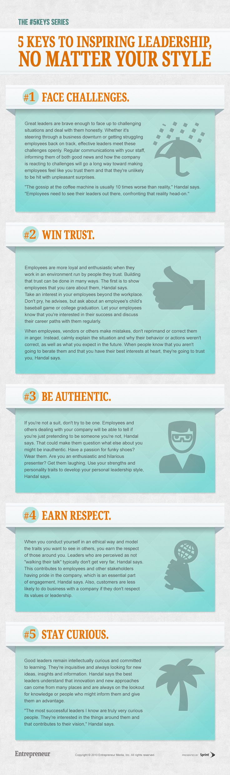 "5 Keys to Inspiring Leadership, No Matter Your Style #Infographic and article by Gwen Moran. ""What really matters is that leaders are able to create enthusiasm, empower their people, instill confidence and be inspiring to the people around them."""