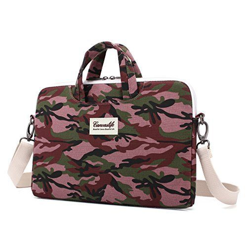 Canvaslife Canvas Fabric Ultraportable Laptop Carrying Case  Shoulder Messenger Bag  Briefcase for Macbook Acer Dell Hp Sonyausasamsunglenovo Notebook 15156 Camouflage pattern  >>> Click image for more details.