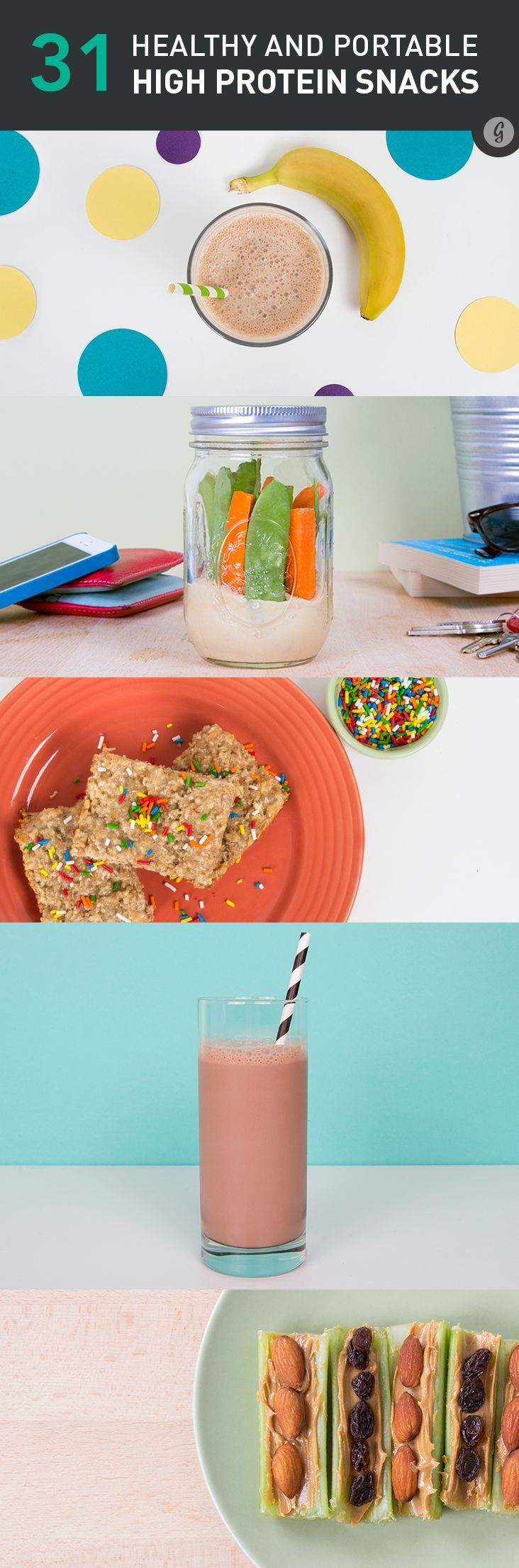 31 Healthy and Portable High-Protein Snacks — Take these easy and delicious DIY snacks with you wherever you need to go. #highprotein #diy #snacks #easy #greatist