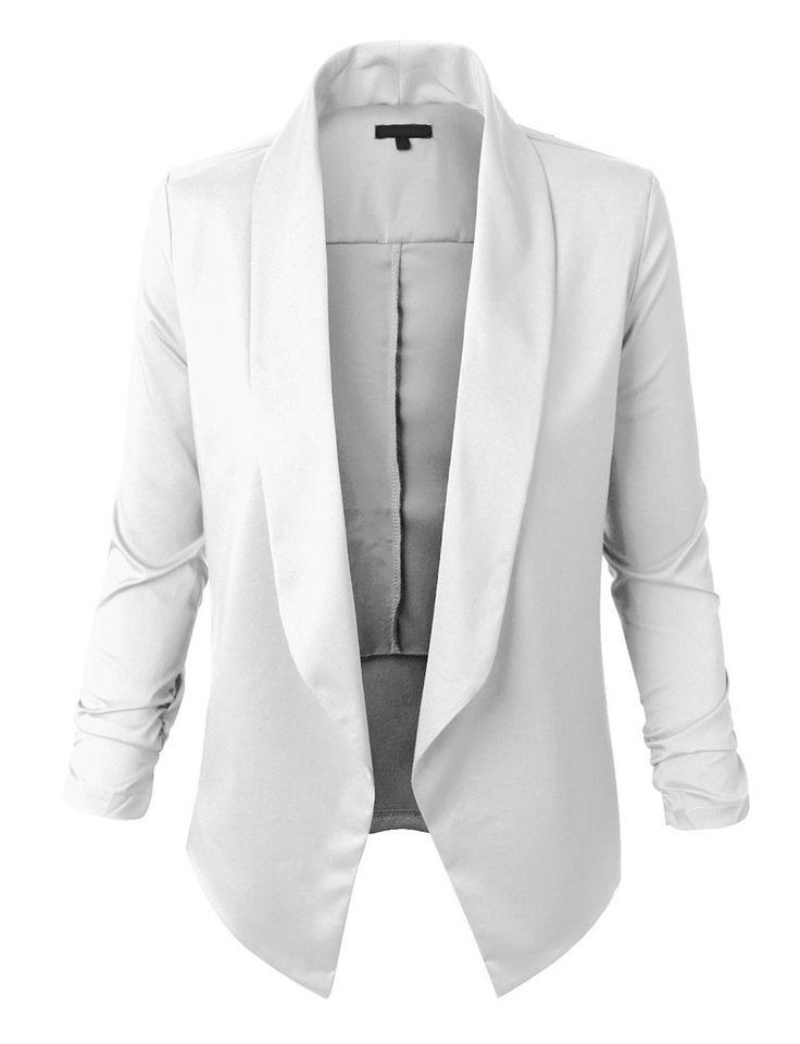 Womens Lightweight Open Front Draped Tuxedo Blazer Jacket