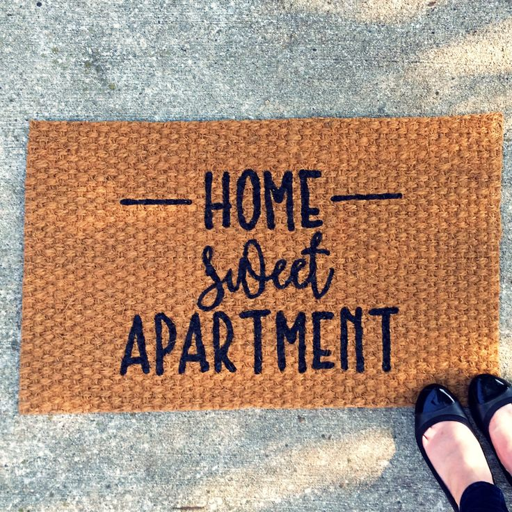 Home Sweet Apartment Doormat - Outdoor Welcome Mat, Entry Rug, Apartment Decor, Housewarming Graduation Gift, New Apartment Gift - 32x20 by UrbanOwlCoShop on Etsy https://www.etsy.com/listing/462758867/home-sweet-apartment-doormat-outdoor