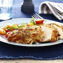 Parmesan Crusted Chicken. Made with mayo! Was initially grossed out at the thought of the mayo & parmesan slathered on top, but this  chicken came out very juicy & delicious. Plus, such a cinch to make!