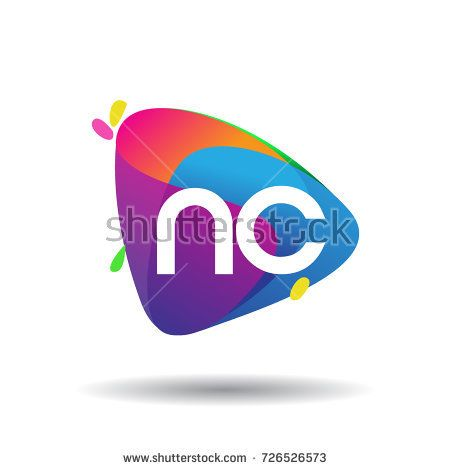 Letter NC logo with colorful splash background, letter combination logo design for creative industry, web, business and company.