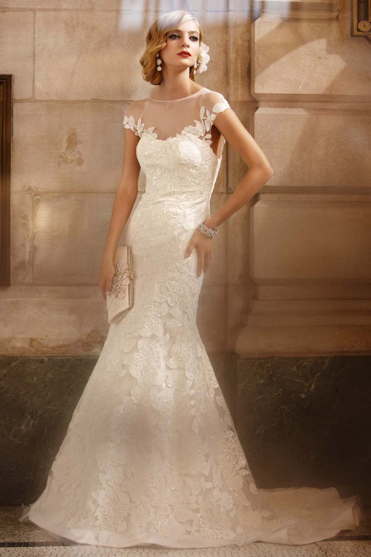 wedding dresses galina wedding dresses Fit to Flare Wedding Gown with Illusion Neckline Style from David s Bridal by Galina Signature
