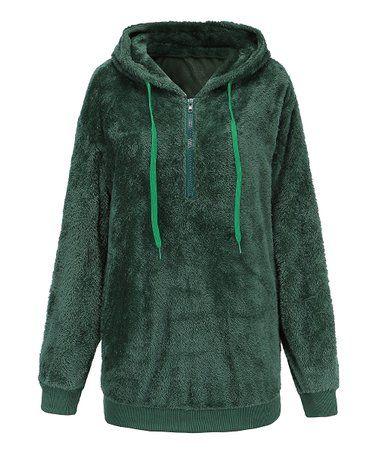 fdb2d935103 Love this Green Fuzzy Quarter-Zip Hoodie - Women, Juniors, Plus & Petite  Plus on #zulily! #zulilyfinds
