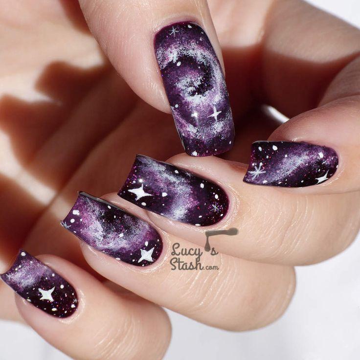 Purple Galaxy Nails tutorial