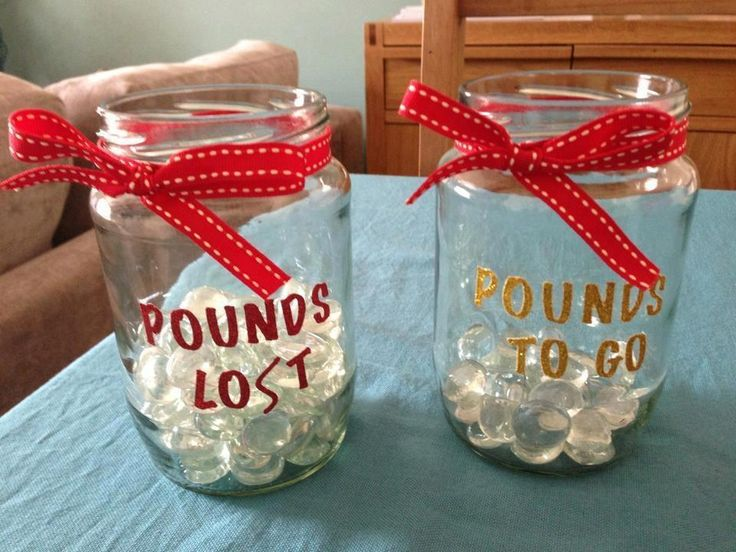 Here is a neat idea. Decide how many pounds you want to lose and place a small object in the jar for each pound. Then when you start losing the weight move the objects from one jar to another. Your mind will see this happening and it will help you focus on your goal.