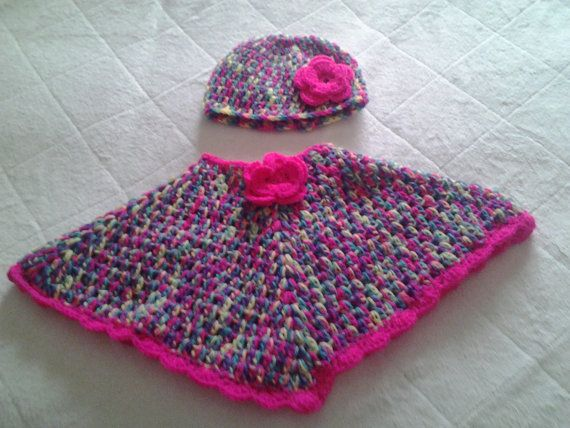 girls hand crochet ponch and hat set age 0-6 months by crochetfifi