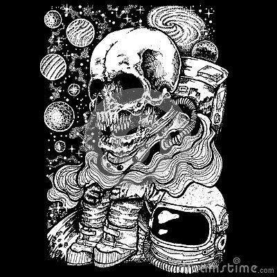 Lost in space with black background, suitable images for print poster or t-shirt