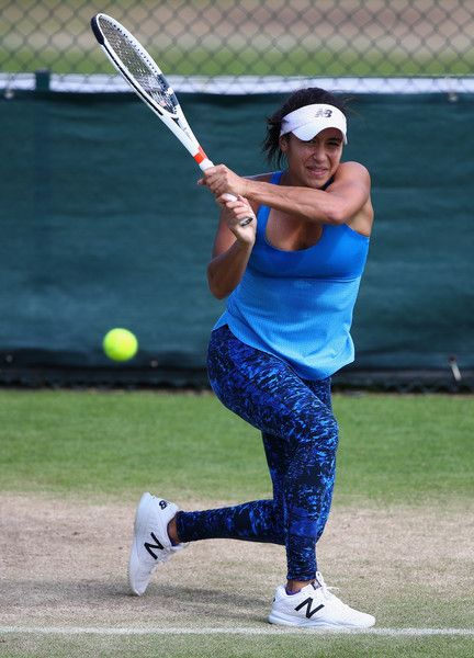 Heather Watson Photos - Heather Watson of Great Britain in action during a practice session prior to the Wimbledon Lawn Tennis Championships at the All England Lawn Tennis and Croquet Club on June 26, 2016 in London, England. - Previews: The Championships - Wimbledon 2016