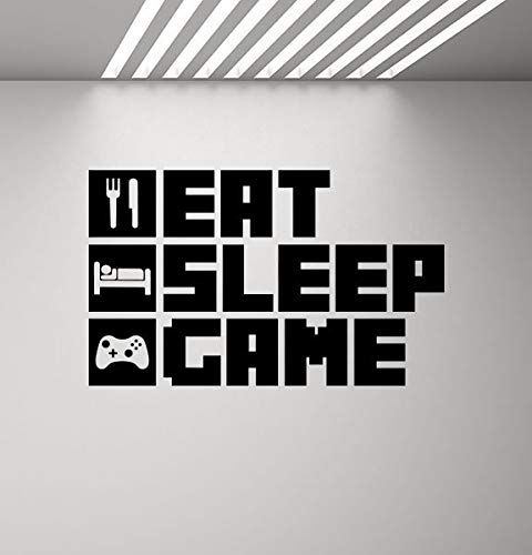 Atopdecals Vinyl Stickers Eat Sleep Game Wall Decal Poster Video Game Gifts for Gamers Room Sign