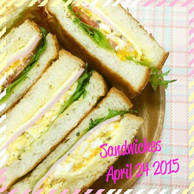 おはようございます((´๑•ω•๑)) このままサンドイッチと一緒にお散歩に出かけたい朝です₍₍ ◝(●˙꒳˙●)◜ ₎₎ 金曜日ですよ〜 もう一踏ん張り╭( ・ㅂ・)و ̑̑ グッ ! ஐ*。:°ʚ♥ɞ*。:°ஐ* サンドイッチ チーズ クラッシュ卵 ハム レタス トマト - 81件のもぐもぐ - サンドイッチ2015/April/24 by neocco