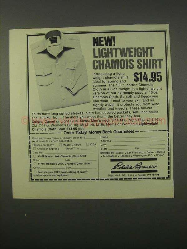 1980 Eddie Bauer Chamois Shirt Ad - Lightweight Shirt