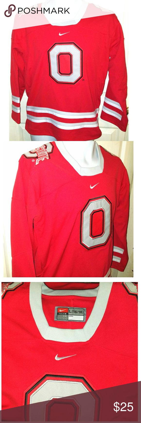 Nike OHIO STATE BUCKEYES Sewn Hockey Jersey Large This is a youth large (16/18) hockey jersey for the Ohio State Buckeyes by Nike. The chest measures 20 inches and the length is 28 inches. Nike Shirts & Tops