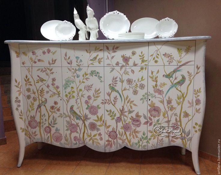 """Купить Роспись комода """" Райский сад"""" - бледно-розовый, комод, Мебель, мебель для спальни"""